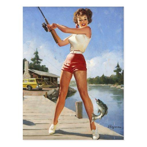 Vintage Retro Gil Elvgren Fishing Pinup Girl Post Cards