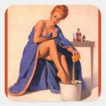 Vintage Retro Gil Elvgren Foot Spa Pin Up Girl Sticker