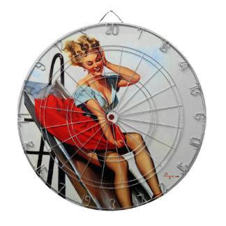 Vintage Retro Gil Elvgren Fun Slide Pin Up Girl Dartboards