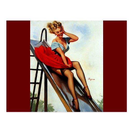Vintage Retro Gil Elvgren Fun Slide Pin Up Girl Postcards