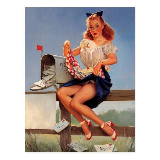 Vintage Retro Gil Elvgren Mail Box Pinup Girl Post Cards