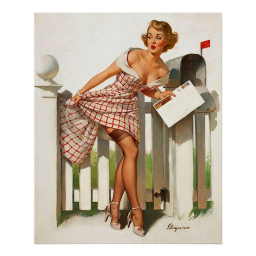 Vintage Retro Gil Elvgren Mail Box Pinup Girl Posters