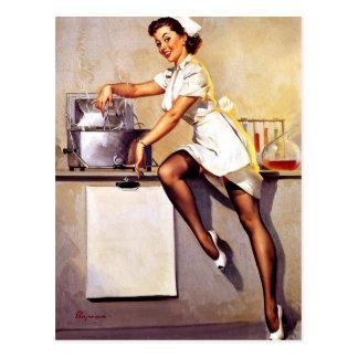 Vintage Retro Gil Elvgren Nurse Pin Up Girl Postcard