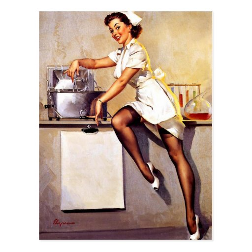 Vintage Retro Gil Elvgren Nurse Pin Up Girl Postcards