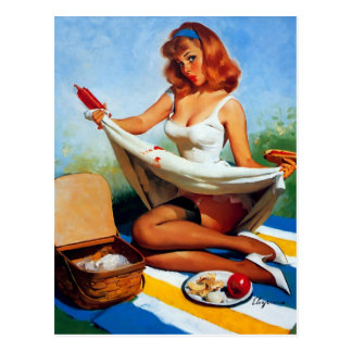 Vintage Retro Gil Elvgren Picnic Pin Up Girl Postcard