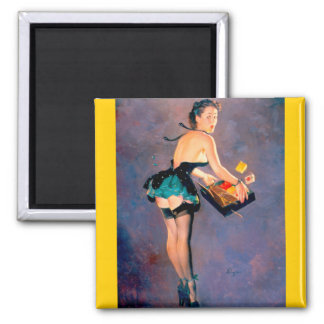 Vintage Retro Gil Elvgren Pin Up Girl Square Magnet