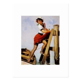 Vintage Retro Gil Elvgren Sailor Pin-up Girl Postcard