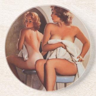 Vintage Retro Gil Elvgren Sun Tan Pinup girl Drink Coaster