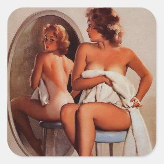 Vintage Retro Gil Elvgren Sun Tan Pinup girl Square Stickers