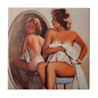 Vintage Retro Gil Elvgren Sun Tan Pinup girl Ceramic Tiles