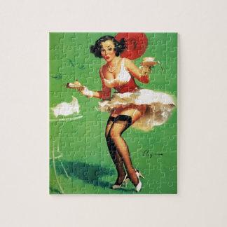 Vintage Retro Gil Elvgren Tea Time Pinup Girl Puzzles
