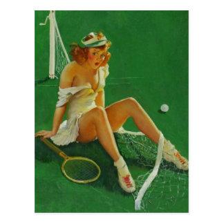 Vintage Retro Gil Elvgren Tennis Pinup Girl Postcard