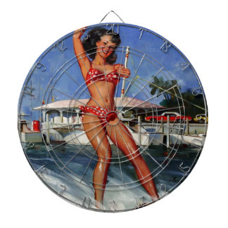 Vintage Retro Gil Elvgren Water Ski pinup girl Dartboard With Darts