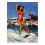 Vintage Retro Gil Elvgren Water Ski pinup girl Post Card
