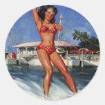 Vintage Retro Gil Elvgren Water Ski pinup girl Round Sticker