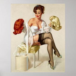 Vintage Retro Gil Elvgren Wig Pin up Girl Poster