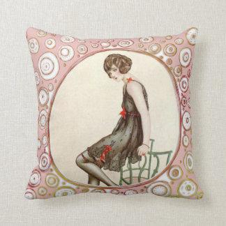 Vintage Retro Girl Throw Pillow