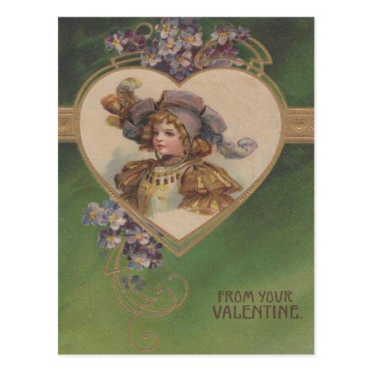 Vintage Retro Girl & Voilets Valentine Card