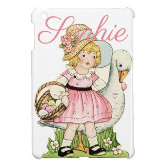 Vintage/Retro Girl with a Goose Personnalised Cover For The iPad Mini
