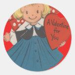Vintage Retro Girl With Heart Valentine Card Round Sticker
