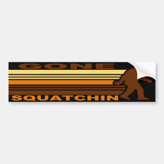 Vintage Retro Gone Squatchin Bumper Sticker