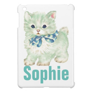 Vintage/Retro Green Kitten Personnalised Case For The iPad Mini