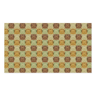 Vintage Retro Green Yellow Brown Circle Pattern Business Cards