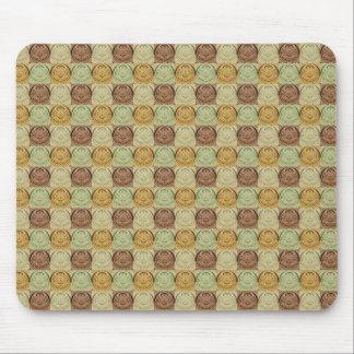 Vintage Retro Green Yellow Brown Circle Pattern Mousepads