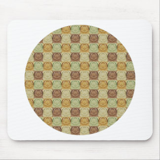 Vintage Retro Green Yellow Brown Circle Pattern Mouse Pads