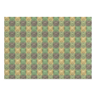 Vintage Retro Green Yellow Gray Circle Pattern Business Cards