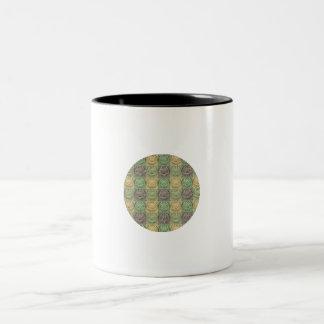 Vintage Retro Green Yellow Gray Circle Pattern Mugs