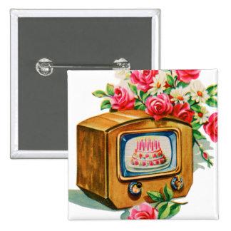 Vintage Retro Happy Birthday Birthday Cake TV Set Buttons