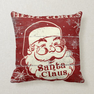 Vintage Retro Here Comes Santa Claus Pillow