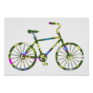 Vintage Retro Hipster Floral Bicycle Poster