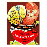 Vintage Retro Hot Dog On A Grill Valentine Card Postcard