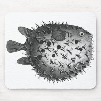 Vintage Retro Illustration Pufferfish Mouse Pad