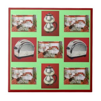 Vintage Retro Kitchen appliances Green Red Gr Tile