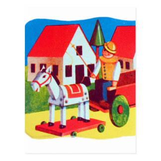Vintage Retro Kitsch 30s Wood Toy Children's Art Postcard