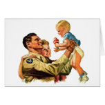 Vintage Retro Kitsch 40s Welcome Home Daddy Greeting Card