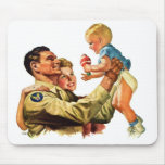 Vintage Retro Kitsch 40s Welcome Home Daddy Mouse Pads