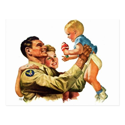 Vintage Retro Kitsch 40s Welcome Home Daddy Postcard