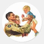 Vintage Retro Kitsch 40s Welcome Home Daddy Sticker