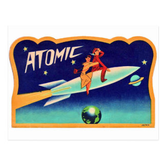 Vintage Retro Kitsch 50s Atomic Rocket to The Star Postcard