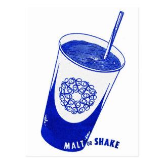 Vintage Retro Kitsch 50s Malt or Shake Cup Postcard