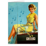 Vintage Retro Kitsch 50s Rock and Roll Radio Greeting Card