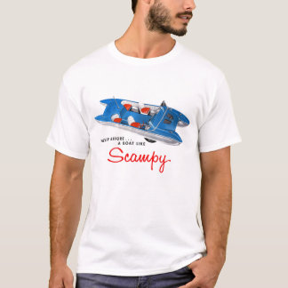 Vintage Retro Kitsch 50s Scampy Auto and Boat T-Shirt