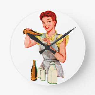 Vintage Retro Kitsch 50s Soda Root Beer and Milk Round Wall Clocks