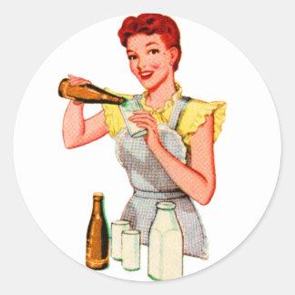 Vintage Retro Kitsch 50s Soda Root Beer and Milk Round Sticker