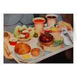 Vintage Retro Kitsch Aeroplane 60s Airline Food Greeting Card