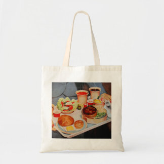 Vintage Retro Kitsch Airplane 60s Airline Food Tote Bags